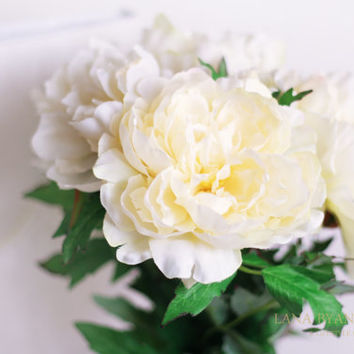6pcs Ivory Peony Peonies Silk Flower Silk Flowers for DIY Wedding Bridal Bouquet Boutonniere Corsage