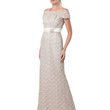 Js Collections Lace Off The Shoulder Gown