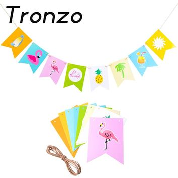 Tronzo 1/Set Flamingo Paper Banner For Hawaii Luau Tropical Party Decoration Pineapple Ccoconut Garland Beach Style Flags