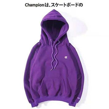 Champion Autumn And Winter New Fashion Bust Embroidery Logo Women Men Hooded Long Sleeve Sweater Drak Purple