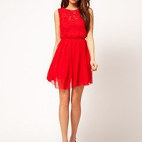 ASOS Skater Dress With Rose Mesh at asos.com