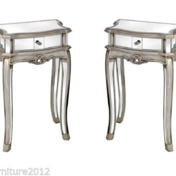 PAIR ANTIQUE FRENCH SILVER VENETIAN MIRRORED GLASS BEDSIDE END TABLE FURNITURE