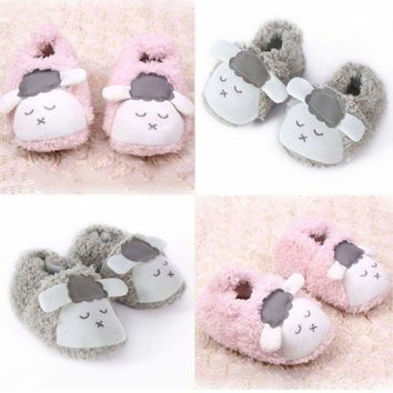 Cute Baby Boys Girls Warm Slipper Home Shoes Booties Infant Soft Sole Crib Shoes