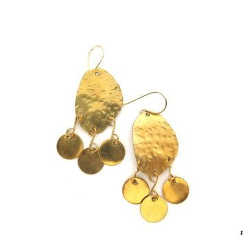 Hammered Gold Modern Tribal Earrings, Gift for Her