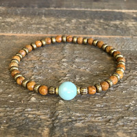 "Picture Jasper and Amazonite Fine Faceted ""Balance and Communication"" Bracelet"
