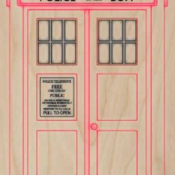 'Police Public Call Box' British UK England Telephone Booth Tele - Plywood Wood Print Poster Wall Art