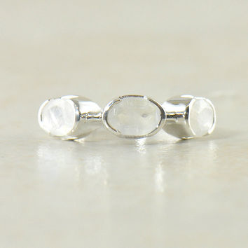 Moonstone Trilogy Sterling Silver Ring