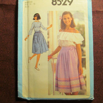 Sale Uncut 1970's Simplicity Sewing Pattern, 8529! 14-16 Medium/Large/Women's/Misses/Front Wrap Skirts/Flared Skirts/Knee Length Skirts