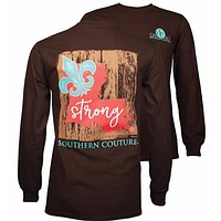 Southern Couture Louisiana Strong Fleur de lis Long Sleeve T-Shirt