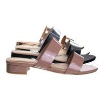 Happyfeet06 Nude Beige By Bamboo, Low Block Heel Slide In Slipper Sandal, Open Toe 2-Strap Shoe