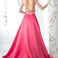 Fuscia and Nude 2 Two Piece Prom Dress with Full Skirt and Halter neck top