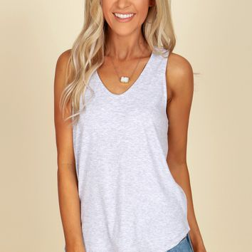 Ribbed V-Neck Tank Top Grey