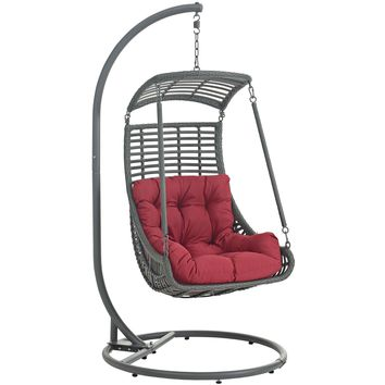 Jungle Outdoor Patio Swing Chair With Stand Red EEI-2274-RED-SET