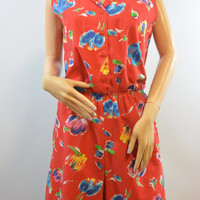 Vintage 70s 80s Sears Red Floral Romper Size Medium