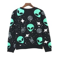 Women Hoodies Sweatshirt Alien Printed Long-sleeve Harajuku Sweatshirt New Autumn Hoodies Casual Kawaii Cartoon Pullovers EA1886