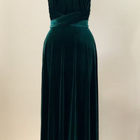 Green velvet dress, infinity dress, bridesmaid dress, prom dress, ball gown, long dress, evening dress, convertible dress, party dress