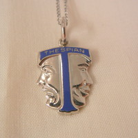 Rare sterling enamel small Thespian Comedy Drama mask Necklace