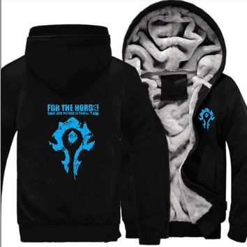 World of Warcraft Dota2 Menswear Thickened Jacket Wow Horde Alliance Blizzard Game Periphery Hoodies Men Sweatshirts
