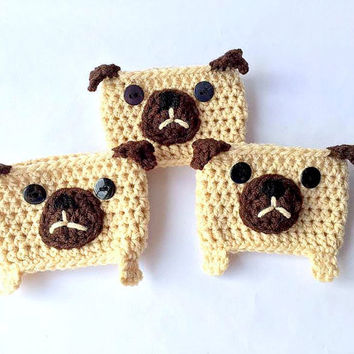 Crochet Pug Coffee Cozy // Gift for her // Cup Cozy // Coffee Cozy // Crochet Coffee Cozy // Pug Coffee Cozy // Coffee Sleeve  // Gift