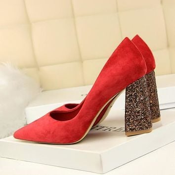 Female 8cm High Glitter Heels Block Pumps Ladies Sexy Chunky Tacones Heels Woman Scarpin Elegant Party Shoes