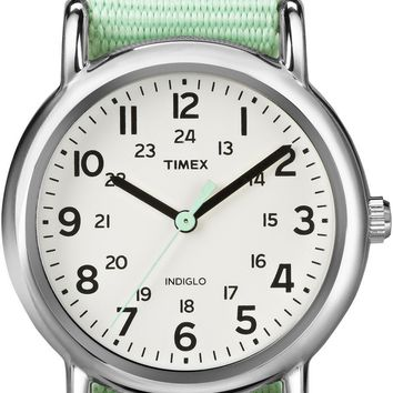 Timex Womens Green Strap Weekender Watch