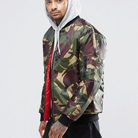 Reclaimed Vintage MA1 Reversible Bomber Jacket In Camo at asos.com