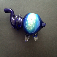 Elephant glass pipe honeycomb blue