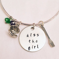 Kiss the Girl The Little Mermaid Ariel Disney Princess Inspired Stamped Adjustable Bangle Charm Bracelet