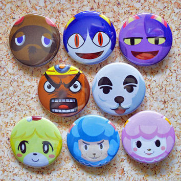 Animal Crossing Button Set - Rover, Tom Nook, Resetti, K.K. Slider, Bob the Cat, Cyrus, Isabelle and Reese