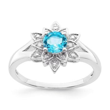 Sterling Silver Diamond & Light Sky Blue Topaz Lotus Flower Ring