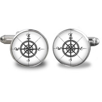 Modern Compass Cuff links - keepsake gift for groomsmen, fathers day, men cuff links, groom  Cuff links,black and white  Compass Cuff links