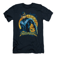 Batman Men's  Nightwing Moon Slim Fit T-shirt Navy Rockabilia