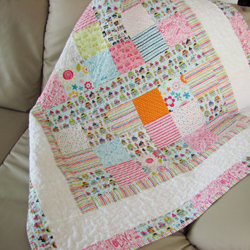 Modern Baby Quilt. Kid Quilt. Toddler Quilt. Child Quilt. Boy or girl Quilt.  Ready to ship.