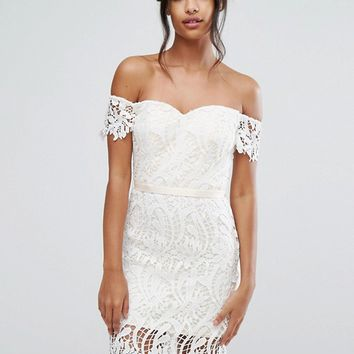 Chi Chi London Lace Bandeu Midi Dress with Sweetheart Neck at asos.com