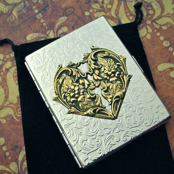 Heart Cigarette Case Mixed Metals Art Nouveau Steampunk Style Big Card Holder Shiny Silver Plated & Brass Vintage Inspired Metal Wallet