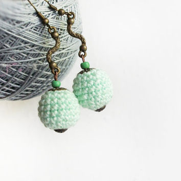 Gentle green mint crocheted earrings /  boho earrings for  women
