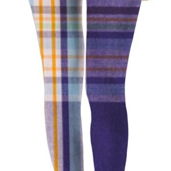 ROWL Purple Plaid Mix Leggings