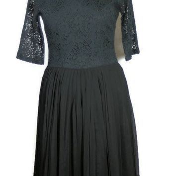 Vintage Gloria Swanson 1960 Black Lace Cocktail Dress, Spring