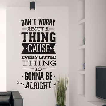Bob Marley - Dont Worry Song Lyrics Typography Vinyl Wall Decal Sticker Art