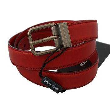 Dolce & Gabbana Red Bordeaux Leather Gray Metal Buckle Belt