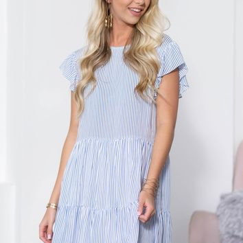 Keyhole Back Striped Tiered Babydoll Dress
