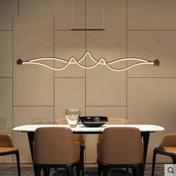 Bar restaurant chandelier creative personality Nordic long chandelier modern minimalist dining room fashion hanging light lamps