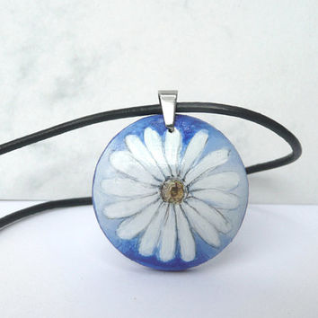 Cute Daisy Necklace, Hand Painted Leather Cord Necklace, Wood, Daisy Flower Pendant, Womens Art Jewelry