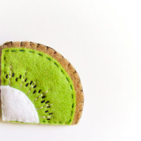 Felt kiwi bookmark, green, white, beige, kaki