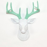 The Mini Isabella| Miniature Resin Deer Head | White Deer Head with Seafoam-green Wall Decor | Stag Head Wall Mount | Faux Taxidermy | Animal Head Wall Hanging Sculpture | Fake Animal Mounts By White Faux Taxidermy