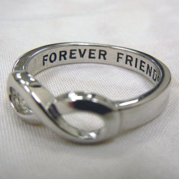 Same Day Shipping, Design Your own Secret Message Best Friends ring, Mother-Daughter Ring, Sisters Infinity ring, Forever Friend Ring,