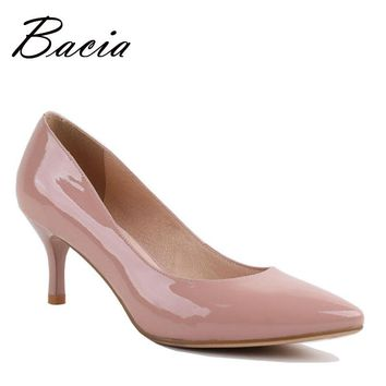 Bacia Full Season Daily Women Shoes Patent Genuine Leather Pumps 6.3cm High Heels Female Office Shoes 36-40size Pink Pumps VA014
