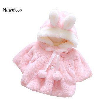 Baby Girls Winter Cloak Cape Coat 2017 Fashion Kids Jacket for Girls Cloak Hooded Princess Bowknot Children Wedding Shawl