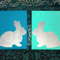 Cute Bunny Silhouette paintings 2 12x12 by SamanthiaByDesign