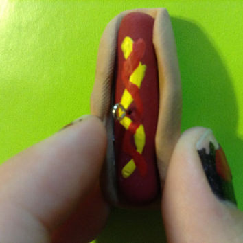 Polymer clay hot dog charm